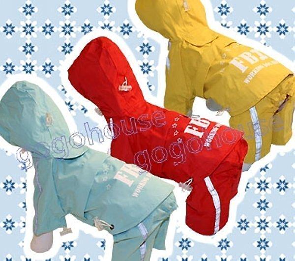 ☆狗狗之家☆FBI藍色兩截設計風衣式寵物雨衣(2號~9號)西施,黃金
