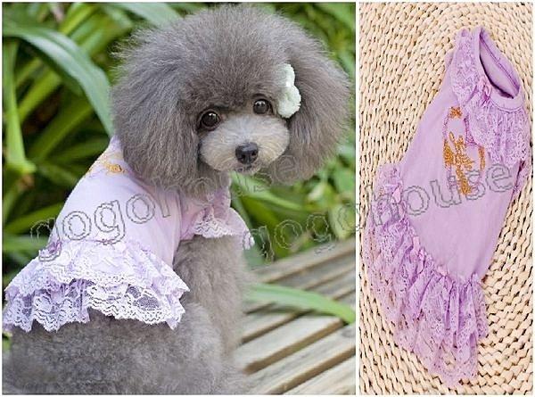 ☆狗狗之家☆日本派可PETCO名媛氣質刺繡蕾絲裙~紫