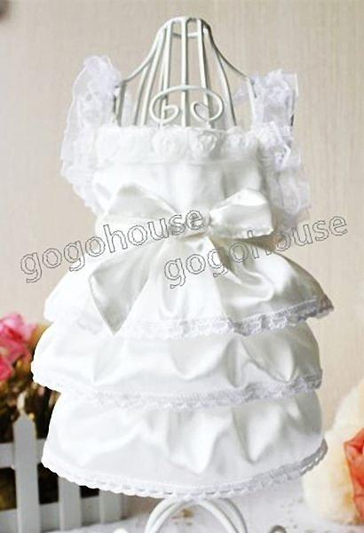 ☆狗狗之家☆新款綢緞蛋糕裙白色婚紗禮服