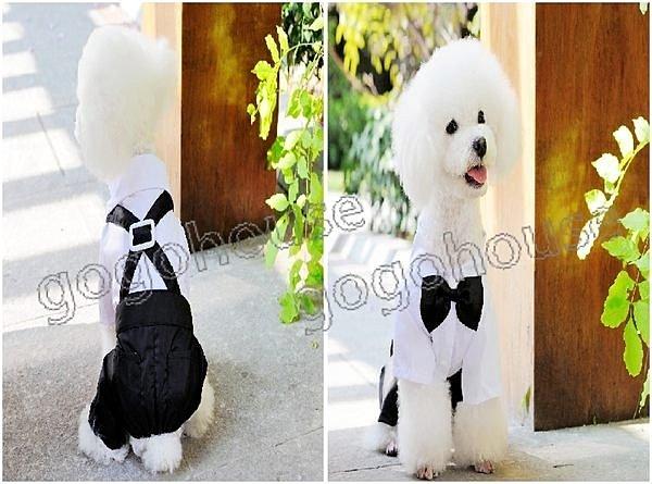 ☆狗狗之家☆英倫風假兩件背帶式連身小西裝/小西服