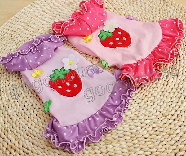 ☆狗狗之家☆日本PETCO派可立體草莓連帽水玉裙~紫色,粉色