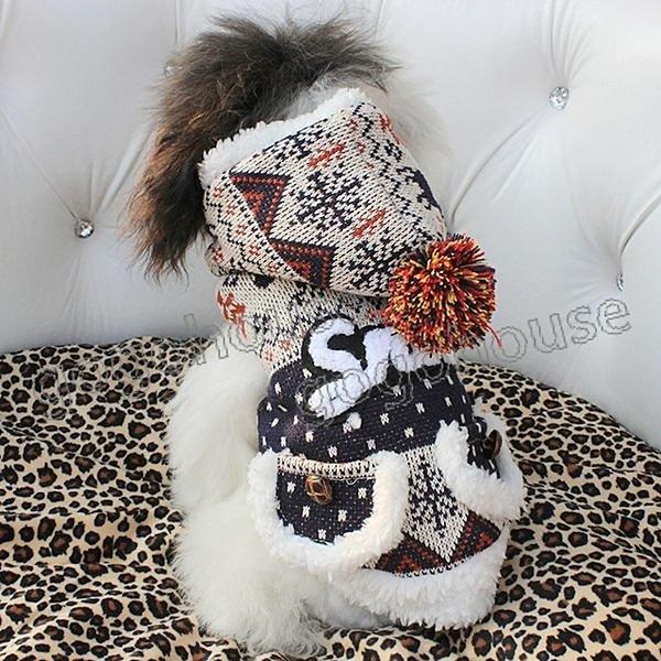 ☆狗狗之家☆Cheers pet民族風雙口袋超厚鋪棉連帽外套~藏青