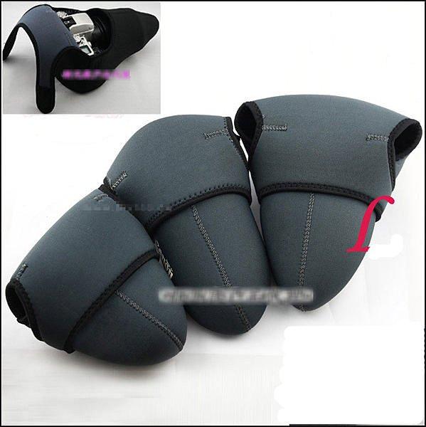 攝彩@素面黑色 潛水彈性材質 單眼相機套 保護套 內膽套 相機包 黑灰兩面雙色-20508