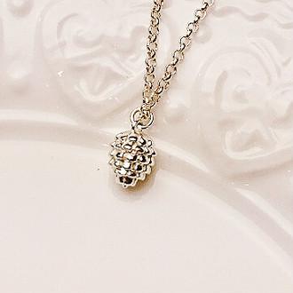 Tokyo Alice 純銀松果項鍊,項鏈飾品首飾銀飾森林系甜美鎖骨鏈(s0000016)