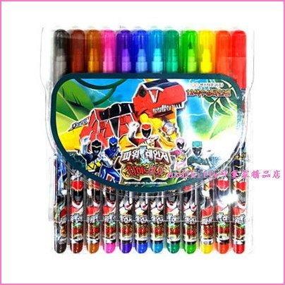 asdfkitty可愛家☆獸電戰隊12色水性彩色筆-韓國正版商品