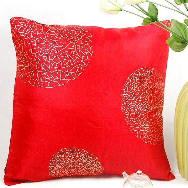 《喨晶晶生活工坊》傢飾~復古風 金花紅色 絲質抱枕套/靠枕套 45*45CM ↘$75元
