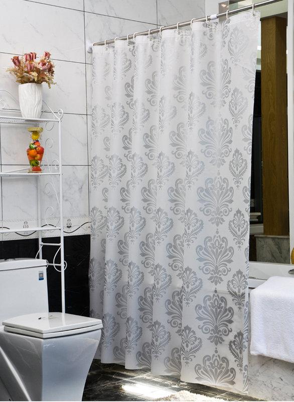 《喨晶晶生活工坊》正品 歐式奢華圖騰 PEVA 180*180金屬扣眼防水浴簾 隔間簾門簾 阻擋冷氣暖氣、特價$260元