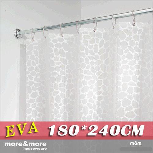 《喨晶晶生活工坊》m&m 默瑪 高品質EVA環保防水浴簾門簾窗簾 白色鵝卵石 180*240公分 附掛鈎