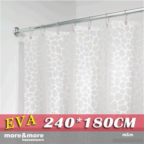《喨晶晶生活工坊》m&m 默瑪 高品質EVA環保防水浴簾門簾窗簾 白色鵝卵石 240*180公分 附掛鈎