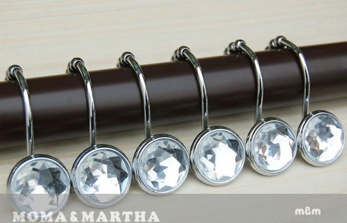 《喨晶晶生活工坊》m&m 默瑪 鑽石水晶鋅合金浴簾掛勾/窗簾金屬掛鉤 升級版 12個/盒