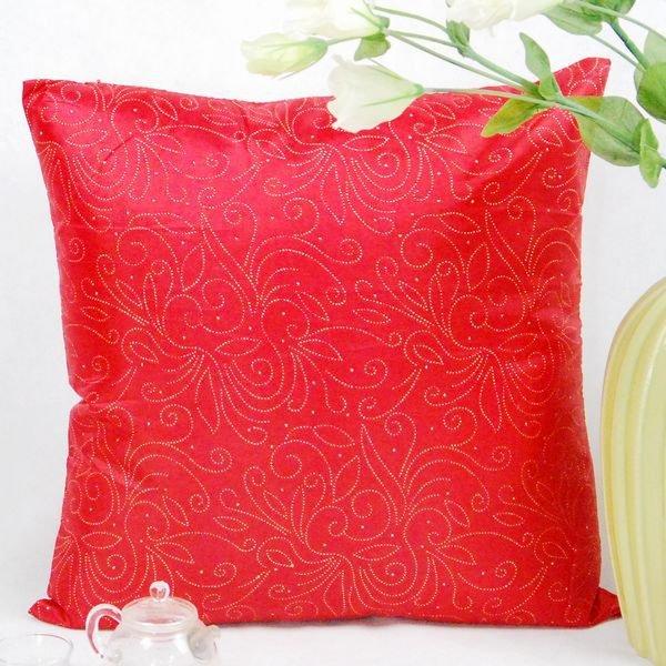 《喨晶晶生活工坊》傢飾~復古風 紅色絲質點金抱枕套/靠枕套 45*45CM 4色↘$75元