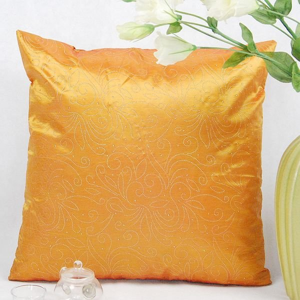 《喨晶晶生活工坊》傢飾~復古風 橘色絲質點金抱枕套/靠枕套 45*45CM 4色↘$75元