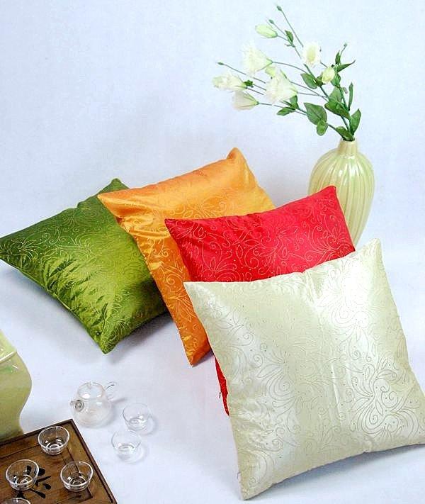 《喨晶晶生活工坊》傢飾~復古古典風格 絲質點金抱枕套/靠枕套 45*45CM 4色↘$75元