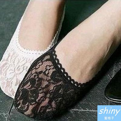 【70A35】shiny藍格子-人手必備.薄淺口單鞋時尚蕾絲襪船襪防滑/隱形襪/短襪子