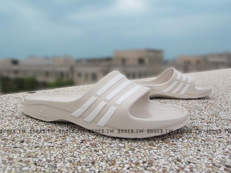 Shoestw【B23234】ADIDAS DURAMO SLIDE 拖鞋 一體成型 米白 米灰 女款 窄版