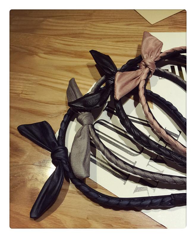 韓國PU皮革編織麻花兔耳朵髮箍 ACE0016