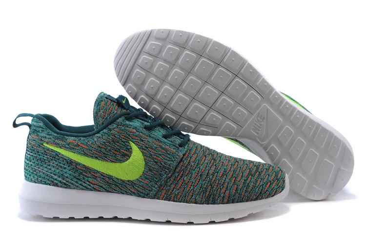 耐克倫敦編織飛線Nike Roshe Run Flyknit 677243系列 花紋綠