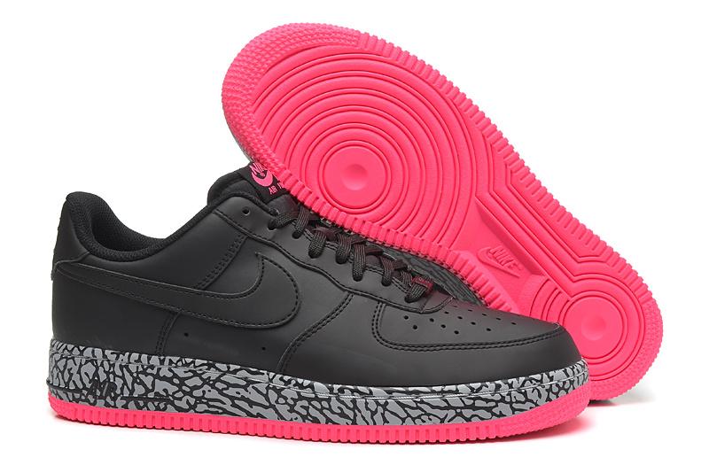 Nike AIR FORCE 1 NK AF1 黑粉爆裂紋 情侶鞋