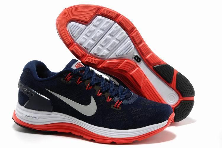 NIKE/耐克Lunarglide 男鞋登月5代 慢跑鞋 運動休閒鞋(深藍紅40-45)