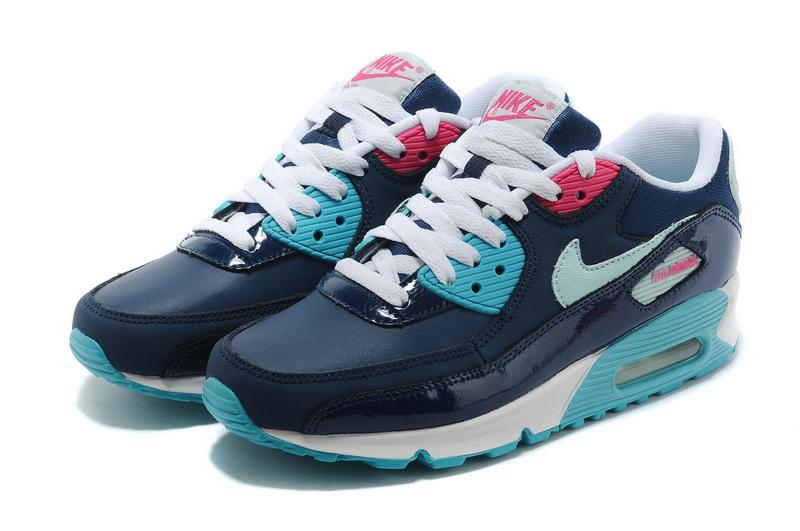 NIKE/耐克 AIR MAX 90 女生氣墊慢跑鞋 運動休閒鞋(深藍玉36-39)