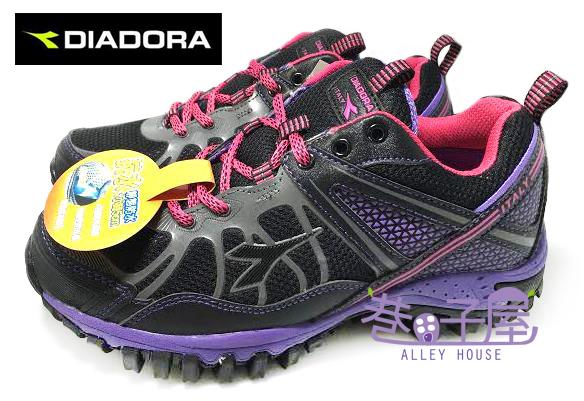 【巷子屋】義大利國寶鞋-DIADORA迪亞多納 女款抗水戶外運動越野跑鞋 [9157] 黑紫 超值價$590