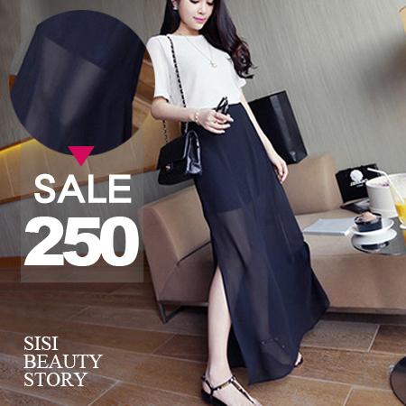 SISI【P6013】浪漫氣質飄逸百搭假兩件雪紡開叉顯瘦半身長裙