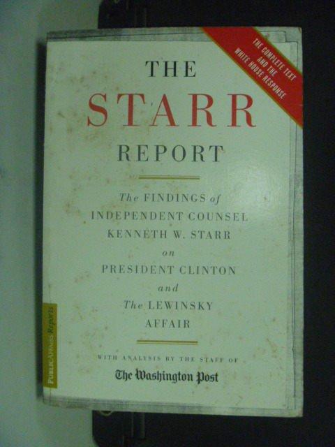 【書寶二手書T9/原文小說_GSP】The Starr Report_Starr, Kenneth