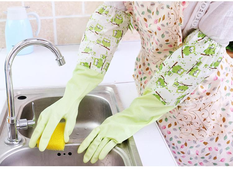 束口貓頭鷹加絨保暖橡膠洗碗手套 家事手套《隨機出貨不挑色》