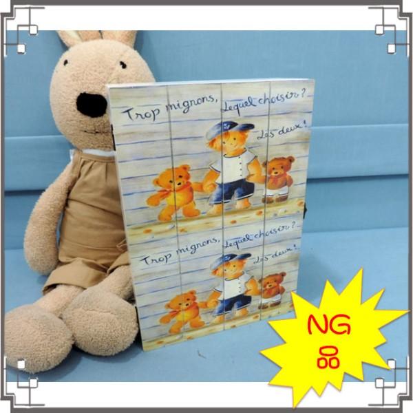 -NG-木製刷白KEY BOX《NG-F》 可愛小熊&男孩 鑰匙盒 壁飾 壁櫃 居家布置◤彩虹森林◥
