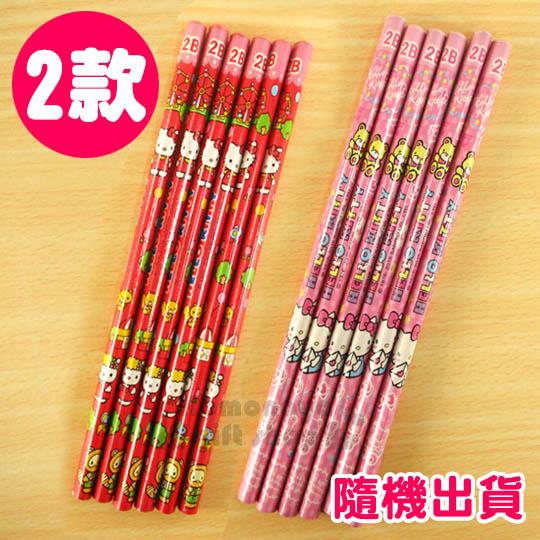 〔小禮堂〕Hello Kitty 鉛筆組《2款隨機出貨.6入.2B.紅/粉》圓形筆桿