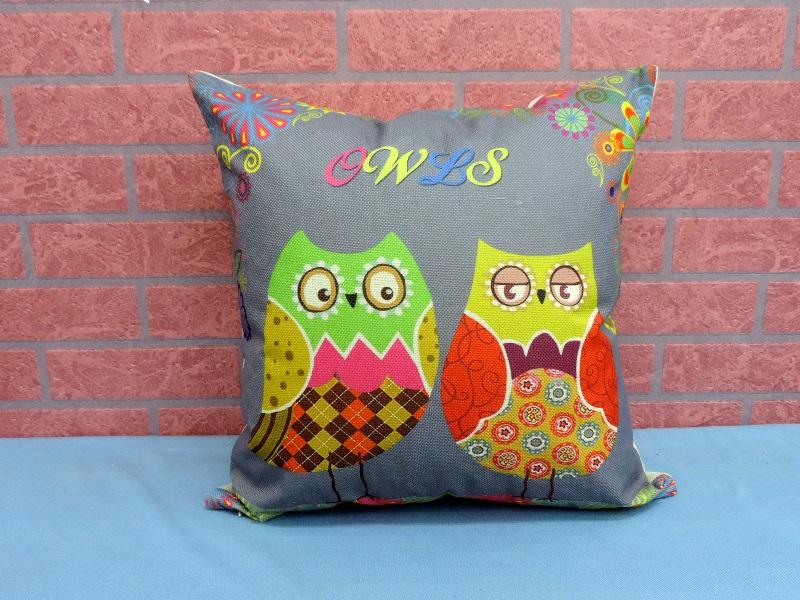 45X45棉麻沙發靠墊《LS6》另有福鳥貓頭鷹棉麻抱枕 車用靠枕 含枕心 居家布置◤彩虹森林◥