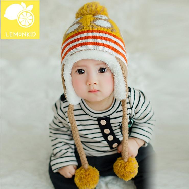 Lemonkid◆冬季可愛小企鵝編織繩毛球保暖兒童冬帽護耳帽-薑黃