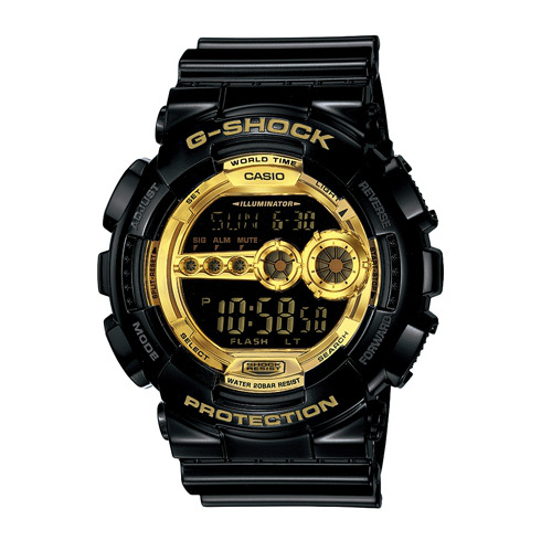 CASIO G-SHOCK GD-100GB-1黑金流行腕錶/黑面51mm