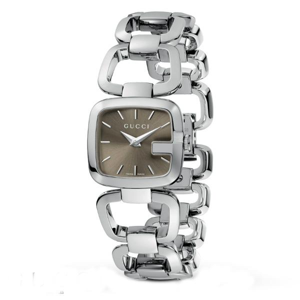 Gucci 古吉YA125507經典方G手環時尚腕錶/茶面24*22.5mm