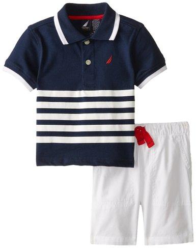 兒童服飾 Nautica男海軍風針織藍白條紋Polo衫搭白短褲12M [babyzuriel 祖瑞兒嬰幼童用品]