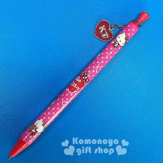 〔小禮堂〕Hello Kitty 吊飾自動原子筆《粉.愛心.點點》輕巧攜帶使用方便