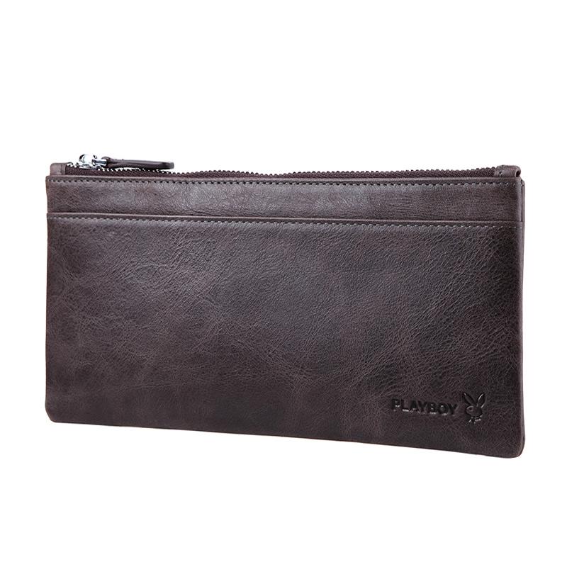 【橘子包舖P314541】PLAYBOY.超薄手拿包.真皮錢包-咖啡色