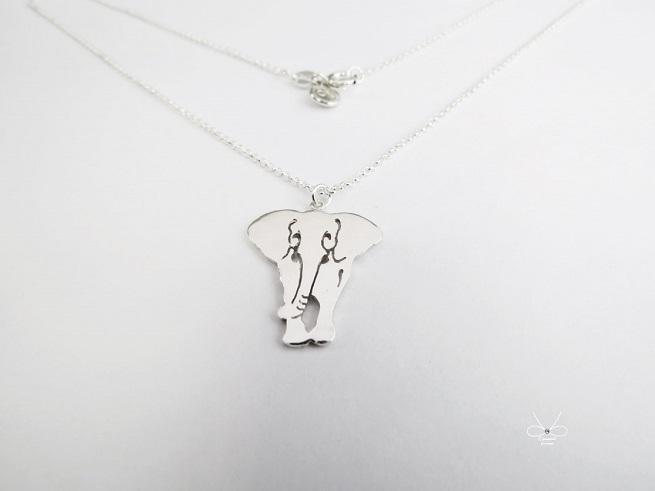 ::C%手工飾品::微笑大象 (925純銀項鍊 銀飾)