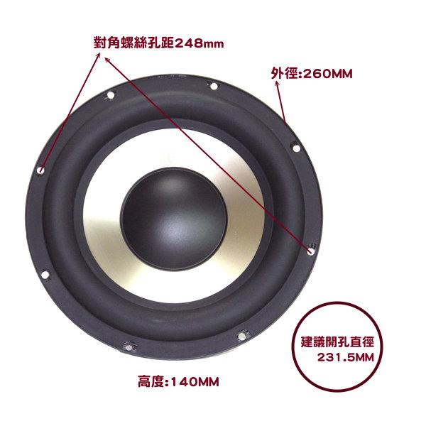 ANV【重低音10吋單體】阻抗8歐姆(SP-S100801SW)一個