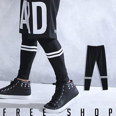 Free Shop【QSPG2316】歐美潮流系條紋印花彈性彈力棉質內搭長褲內搭褲‧黑色 MIT 台灣製