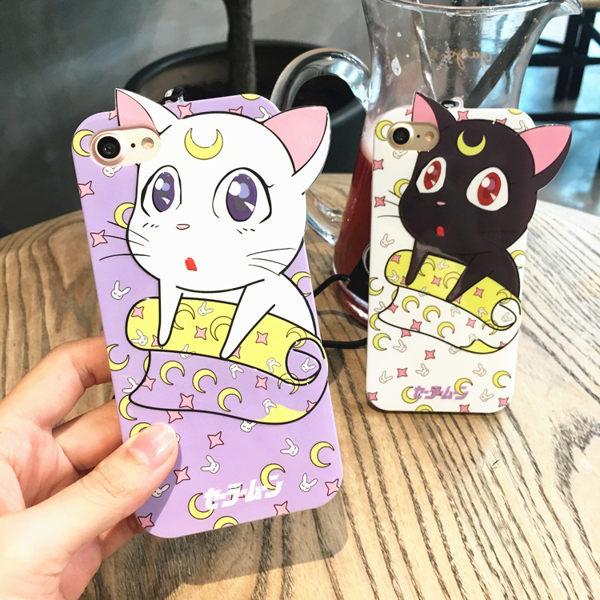 美少女戰士露娜貓手機殼軟膠晶鑽iphone7蘋果保護殼110774海渡