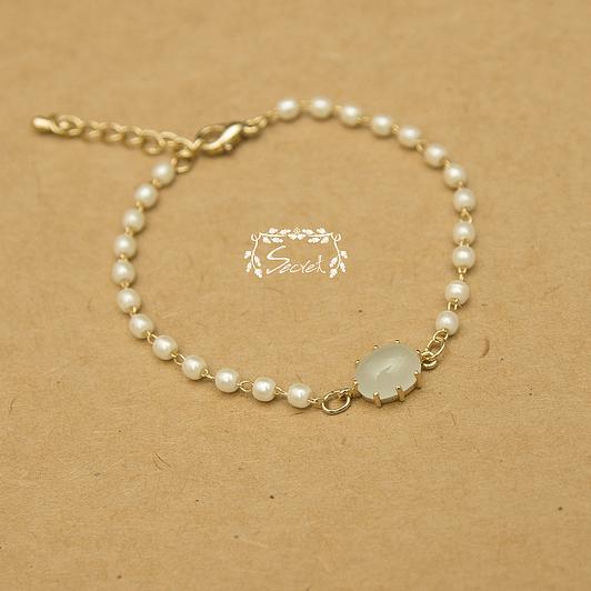 【秘密飾品】「月光星點」蛋白石珍珠手鍊 (現+預)