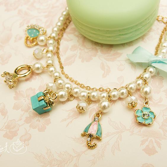 【秘密飾品】「Tiffany禮物」精緻綴飾手鍊 (現+預)
