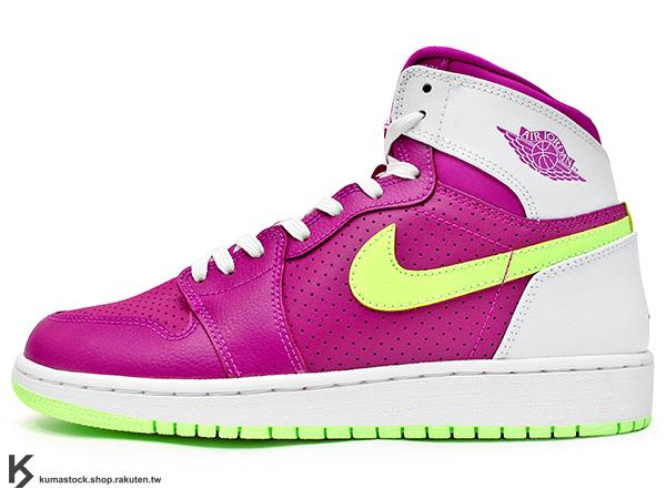 [22%OFF] 2015 台灣未發售 女孩專用 九孔鞋洞 NIKE AIR JORDAN 1 RETRO HIGH GG BG GS 大童鞋 女鞋 桃紫白 粉萊姆綠勾 皮革 AJ (332148-509) !