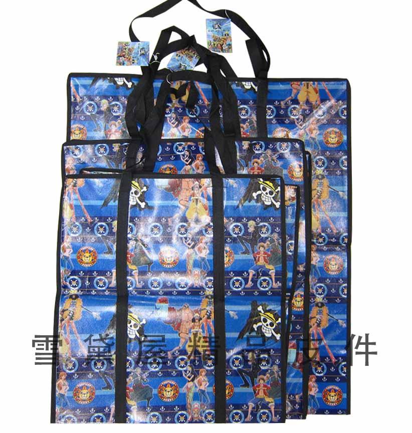 ~雪黛屋~旅行袋批發袋購物袋簡易型防水由底部加強耐重車縫PVC尼龍布摺疊壓扁收納不占空間正版授權提背JJ752-1(小)