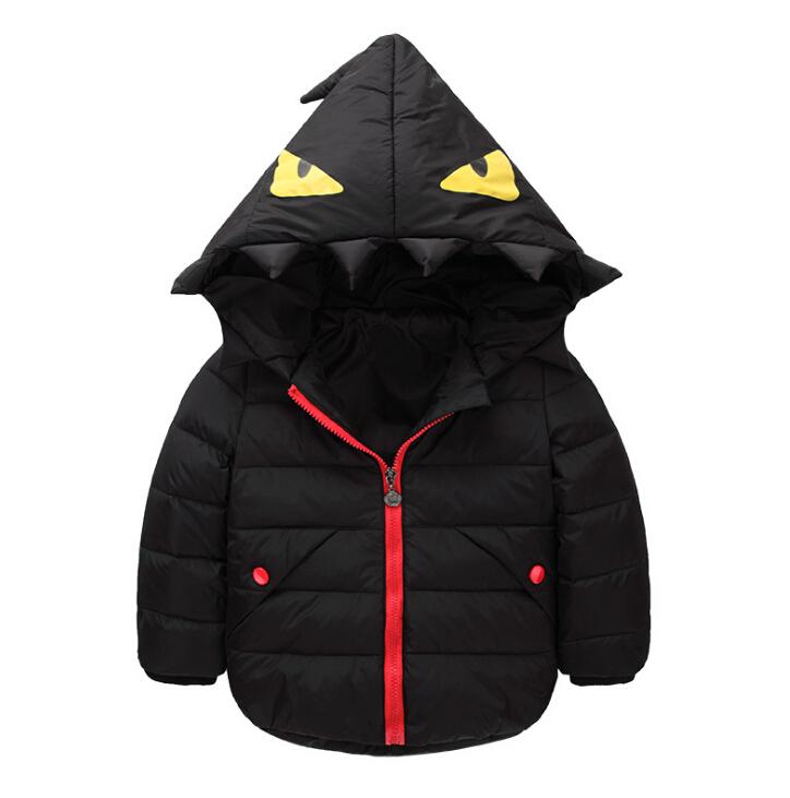WallFree窩自在★兒童時尚小怪獸羽絨衣 保暖外套 男童 女童 (160)黑色色