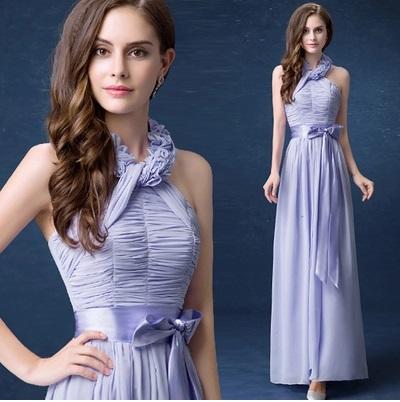 天使嫁衣【AE312】紫色B款立體花朵掛脖露背伴娘長禮服˙預購訂製款