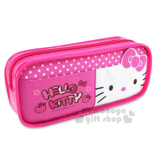 〔小禮堂〕Hello Kitty 方形拉鍊筆袋《粉.大臉.點點》也可當化妝包