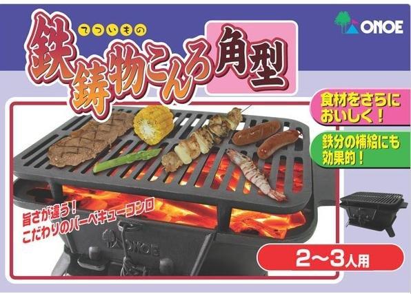 【露營趣】中和 日本 ONOE 尾上鉄鋳物こんろ角型燒烤爐 鑄鐵鍋爐 燒烤爐 BBQ烤肉架 荷蘭鍋爐 木炭暖爐 圍爐 CI-1607