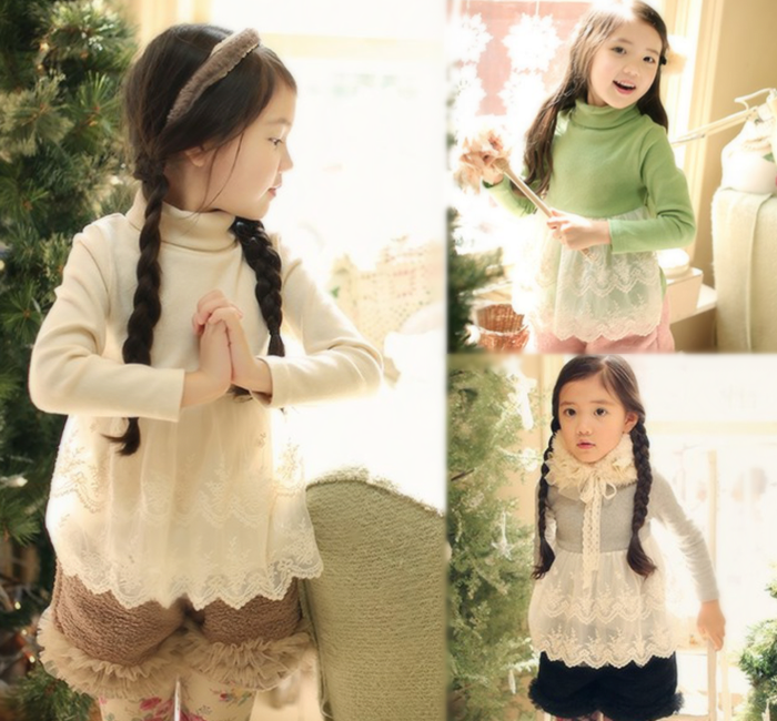 秋冬保暖加厚天鵝絨蕾絲高領洋裝上衣~亮綠色、灰色、白色